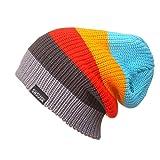 watch hat light blue - YueLian Unisex Adult Cuffed Stretch Winter Rainbow Striped Hat Knit Beanie Ski Cap (light blue)