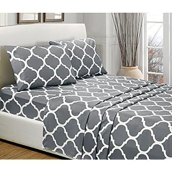4 Piece KING Size, GREY QUATREFOIL Printed Bed Sheet Set Super Soft