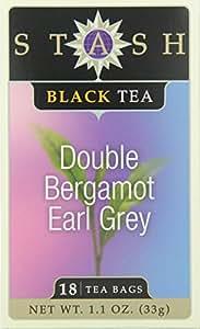 Stash Tea Double Bergamot Earl Grey Tea, 18 Count Tea Bags in Foil (Pack of 6)