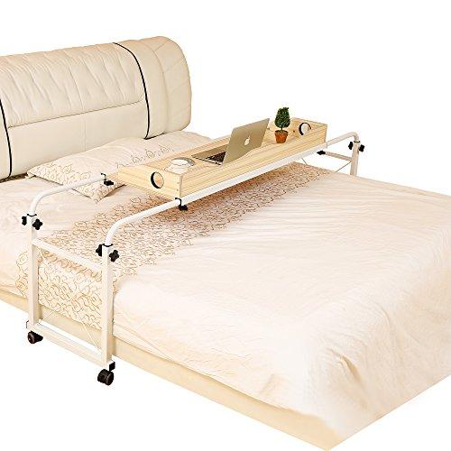 Dline - Overbed Table Laptop Cart(Light Grain 202) - Chrome Mdf Table