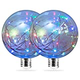 country kitchen table lamps DORESshop E26 Base Globe Antique LED Lights, G95 Vintage Edison Bulb, Home Decorated Bulb, Multi-Color Flashing Decorative String Light Bulb, Evening Bulb, Table Light, Pack of 2