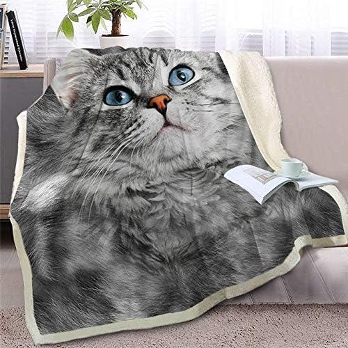 Plaid in pile gatti cameretta grigio bianco soffice