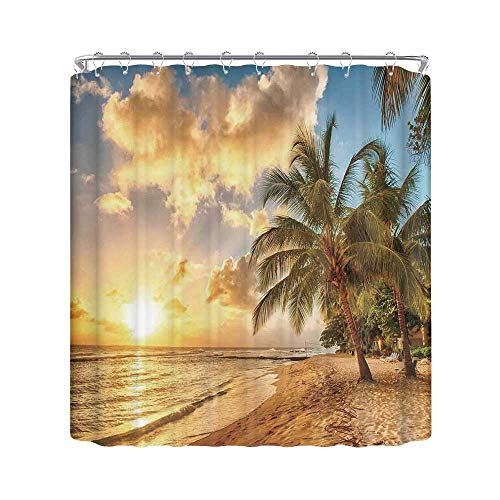 C COABALLA Scenery Decor Durable Shower Curtain,Tropic Sandy Beach with Horizon at Sunset and Coconut Palm Trees Summer Photo for Bathroom,78.7
