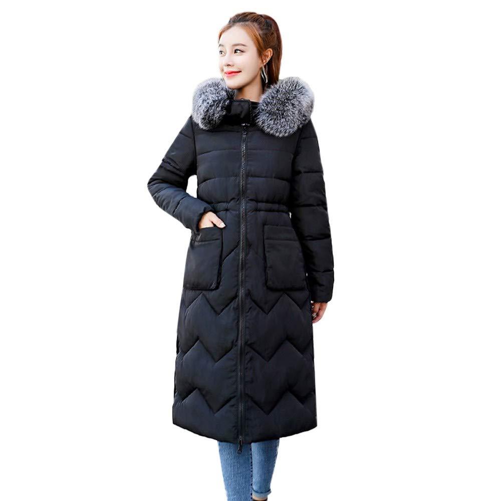 Black Realdo Womens Double Side Coat, Winter Faux Fur Hoodie Down Long Puffer Parka