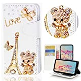 LG Stylo 2,LG Stylo 2 Plus Case,Yaheeda [Card Slot] [Kickstand Feature] Design Flip Leather Handmade Bling Crystal Butterfly Flower Rhinestones Diamond Wallet Case Cover