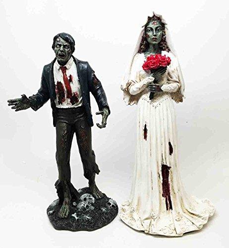 Walking Undead Zombie Wedding Bells Lovers Bride And Groom Walkers Sculpture]()