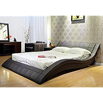 this item greatime b1041 carlifornia king dark brown wave like shape upholstered bed