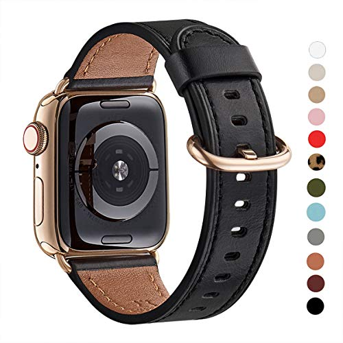 (WFEAGL Compatible iWatch Band 40mm 38mm, Top Grain Leather Band with Gold Adapter (The Same as Series 4 with Gold Stainless Steel Case in Color) for iWatch Series 4/3/2/1(Black Band+Gold Adapter))