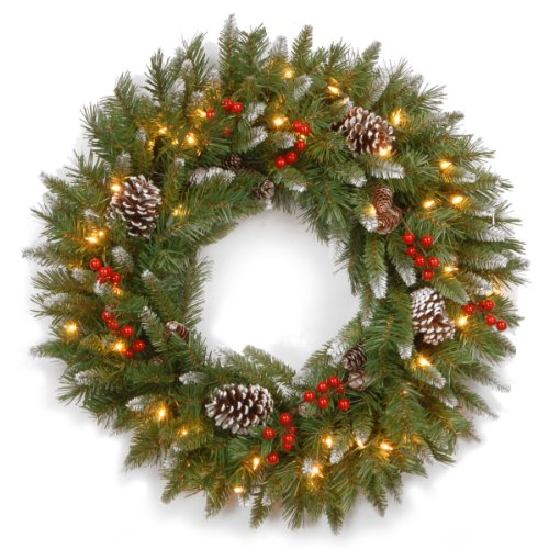 National Tree 30 Inch Frosted Berry Wreath with 100 Clear Lights -
