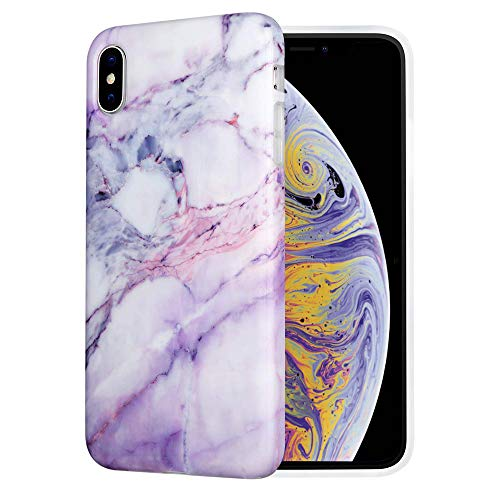 Caka iPhone Xs Max Case, iPhone Xs Max Marble Case Slim Anti-Scratch Shock-Proof Luxury Fashion Soft Silicone Rubber TPU Protective Case for iPhone Xs Max 6.5'' - (Pink)