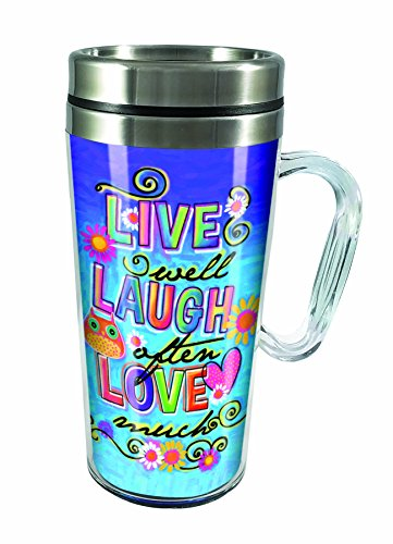 Spoontiques Live Laugh Love Insulated Travel Mug, , Blue