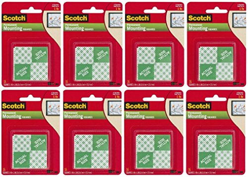 3M Scotch Precut Foam Mounting Squares Heavy Duty, 1 Inch, Total 128 Squares (8 X 16 Count - Pre Cut Foam Mounting