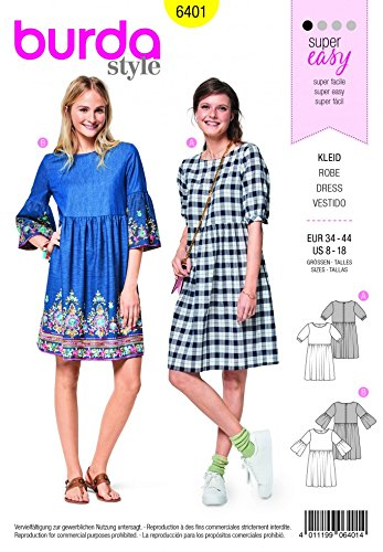 Amazon Burda Ladies Easy Sewing Pattern 6401 Swing Dress With