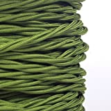 (MLCA022) 3 Core Sage Green - ANTIQUE BRAIDED TWISTED WOVEN SILK FABRIC LAMP FLEXIBLE CABLE WIRE CORD by Pendantlighting