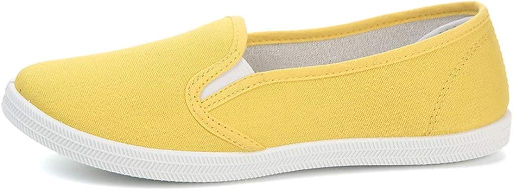 Zapatillas Canvas de Lona Mujer Zapatos Informales Planos de Lona Cómodos y Versátiles Blanco Amarillo Rojo Negro riou