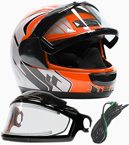 Typhoon Helmets Adult Snowmobile Helmet with Electric Heated Shield Mens Womens Full Face Dual Lens - Orange (XXXL) Electric Snowmobile Shield