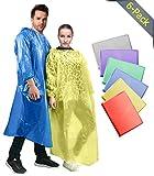 Rain Poncho: 6 Pack Emergency Disposable Waterproof Rain Coat Ponchos For Adults Men Women Teens Kids | Drawstring Hood, Elastic Sleeve | 30% Thicker Material