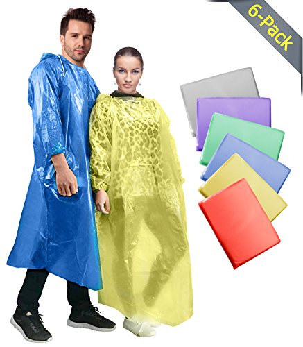 Rain Ponchos for Adults(6 Colors Pack), Emergency Disposable Waterproof Rain Coats, Family Pack for Men, Women, Teens, Kids - Drawstring Hood, Elastic Sleeve, Commuter Friendly, Anti-Cling Material