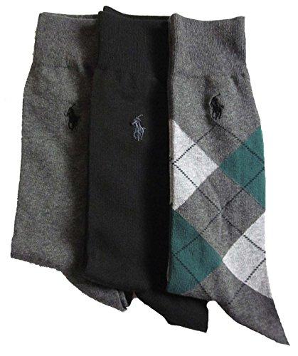 Polo Ralph Lauren Men's 3 Pack Ribbed Dress Socks (Charcoal/Black/Argyle (Argyle Polo Dress)