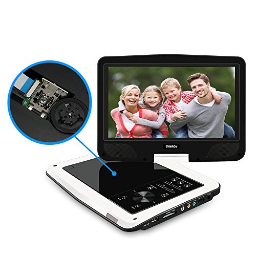 """SYNAGY 10.1"""" Portable DVD Player CD Player with Swivel Screen Remote Control Rechargeable Battery Car Charger Wall Charger, Personal DVD Player(White)"""