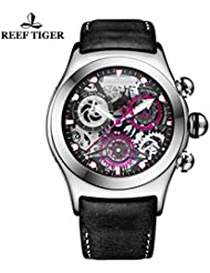 Reef Tiger Chronograph Sport Watch with Date 316L Steel Black Skeleton Dial Luminous Watches RGA792