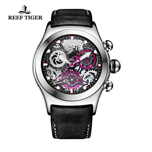 ph Sport Watch with Date 316L Steel Black Skeleton Dial Luminous Watches RGA792 (Tigers Ladies Sport Steel Watch)