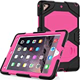 CSLU iPad 9.7 2018/2017 Case, [Kickstand]Heavy Duty Shockproof Rugged Hybrid Impact Resistant Armor Defender Full Body Protective Silicone Cover for Apple iPad 9.7 inch Tablet, Rose
