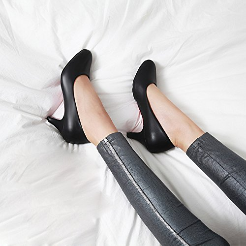 Meotina Femmes Pompes Talons Hauts Bureau Lady Chaussures Peu Profondes Slip On Robe Chaussures Noir
