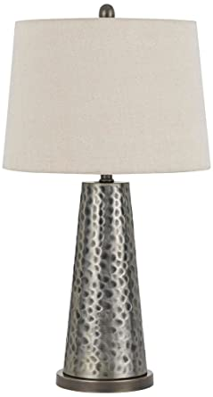 Bradford Silver Faux Hammered Metal Table Lamp Set Of 2 Amazon Com