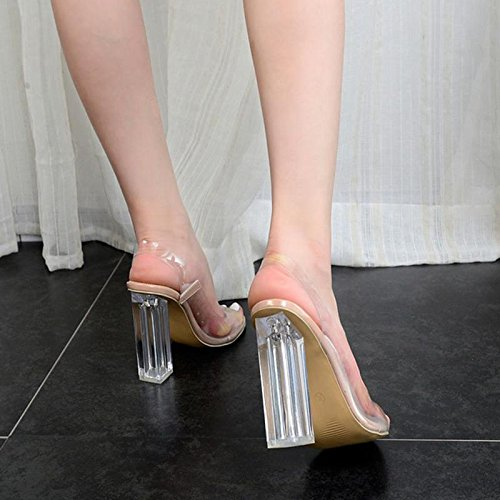 Crystal mit dick Frauen Fisch Party MZG Transparent Dinner und apricot Schuhe Sandalen Mund 100 8p06qwB