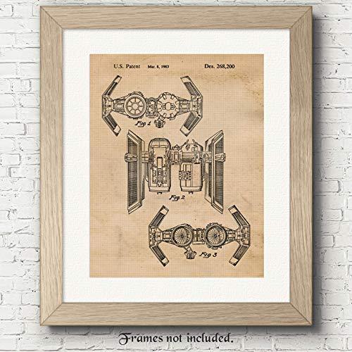 Award Fan (Original Star Wars TIE Bomber Patent Art Poster Prints - 11x14 Unframed - Great Wall Art Decor Gifts for Star War fans, Man Cave, Garage, Boy's Room…)
