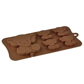 4 + 1 elefante caracol/de tableta de Chocolate molde de silicona: Amazon.es: Hogar