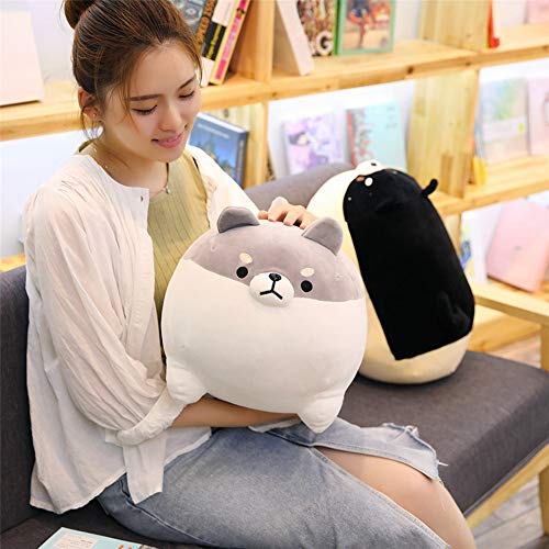 LtrottedJ Anime Shiba Inu Plush Stuffed Sotf Pillow Doll Cartoon Doggo Cute Shiba Soft Toy (Gray) -