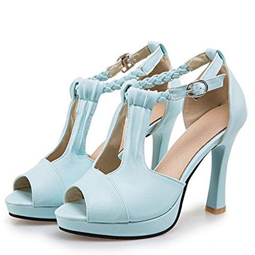 RAZAMAZA Mujer Moda Peep Toe Tacon alto Sandalias Plataforma Correa En T Zapatos Azul