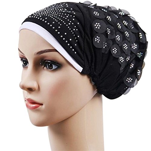 potato001 Women Islamic Muslim Stretch Turban Hat Hair Loss Cover Scarf Hijab Chemo Cap (Black) (Scarf Stretch Silk)