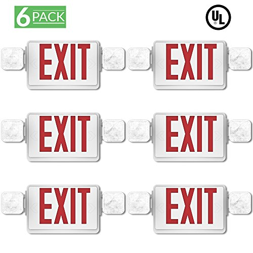 Sunco Lighting 6 Pack Emergency Single/Double Sided EXIT Sign LED Light Fixture With Dual Head Lights Plus Back Up Battery Pack, Commercial, Fire Resistant, US Standard Red Letter - UL Listed