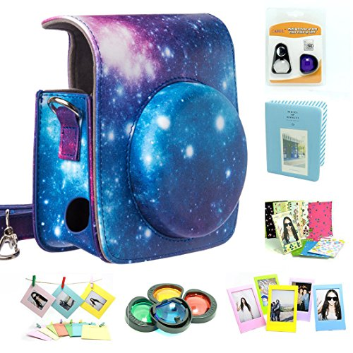 CAIUL Compatible Mini 90 Camera Case Bundle with Album, Filters & Other Accessories for Fujifilm Instax Mini 90 (Galaxy, 7 Items)