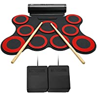 Lujex Portable 9 Pad Electronic Drum Set Roll Up Drum Kit...