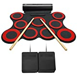 Lujex Portable 9 Pad Electronic Drum Set Roll Up Drum Kit Percussion Instrument with Speaker Can Be Connected to Computer