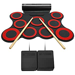 Lujex 9 Pads Portable Roll-up Electronic Drum Set Percussion Instrument Kit with Speaker for Kids (Red&Black(upgraded speaker))