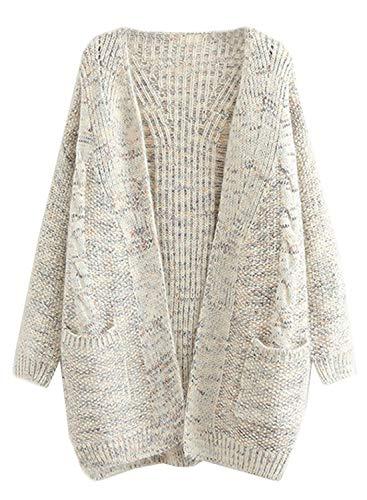 futurino Women's Cable Twist School Wear Boyfriend Pocket Open Front Cardigan Popcorn Sweaters Beige