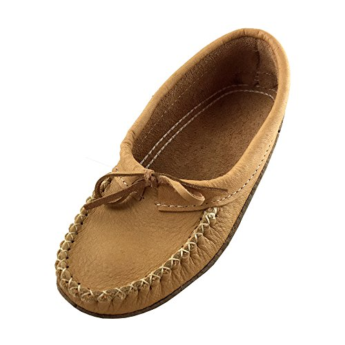 Bastien Industries Women's Moose Hide Leather with Heavy Oil Tan Sole Ballet Earthing Moccasins (9, Maple Tan)