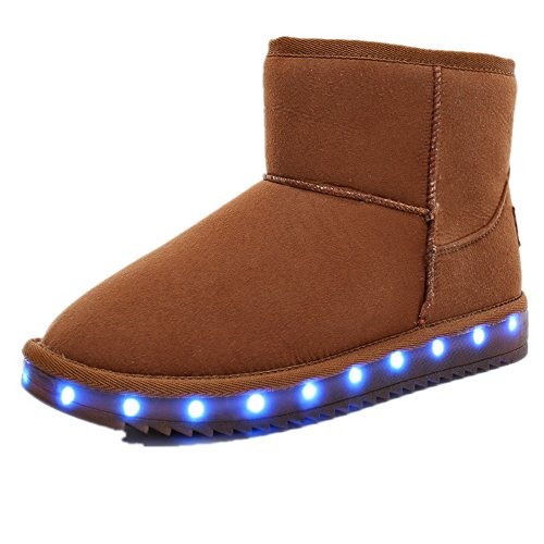 USB LED Light Shoes Fashion Glowing for Women High-top Ankle Boots Winter Women's Snow Boots ?Brown 4 M US Big Kid? (Eleven Miami Halloween)