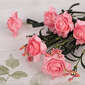 Artificial Flowers Rose Bouquet with Mini Spikes for Wedding Home Office Decor 87