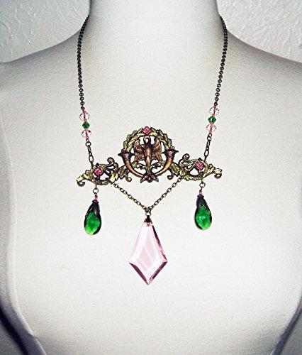 RENAISSANCE QUEEN NECKLACE Pink Green CRYSTAL Drops Lg BIRD FIGURAL VICTORIAN STATEMENT