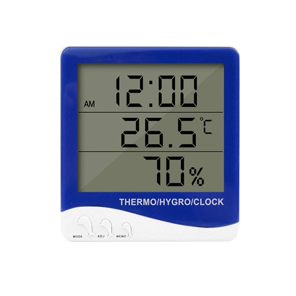 Digital Thermometer and Hygrometer Electronic Indoor and Outdoor Measurement, Calendar Time Alarm Clock ,LCD Large Screen Wall Mount & Tabletop Holder for Office, Bedroom, Kitchen Etc.