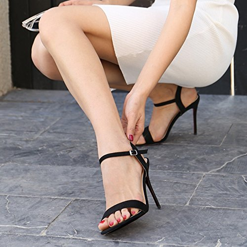 Nude Couleur 8CM  VIVIOO talons hauts High-Heeled Sandals été Fine With Open Toe petit Yards Ol noir Word Buckle TemperaHommest High-Heeled Rohomme Sandals
