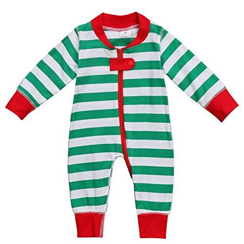 Canis Unisex Baby Boys Girls Long Sleeve Christmas Romper Pajamas Striped Zipper Long Jumpsuit (6M, Green) -
