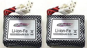 MODELTRONIC Set Dos baterías de Li-Ion de 9.6V 800mAh para los Coches de XINLEHONG 9115 9116 1/12 GPTOYS S912 S912 3.0 LUCTAN GP Toys Tercera generación li-Ion-fe
