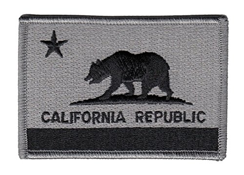 CALIFORNIA STATE Flag Patch (Iron-On) Silver/ Black CALIFORNIA STATE FLAG PATCH, 3-1/2x2-3/8